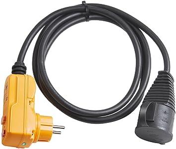 Brennenstuhl Schutzadapterleitung FI IP44 mit Powerblock Kabel 5m schwarz