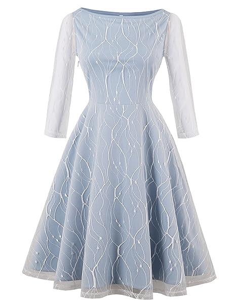 EOZY Vestido Corto con Encaje para Mujer Fiesta Primavera Blanco M