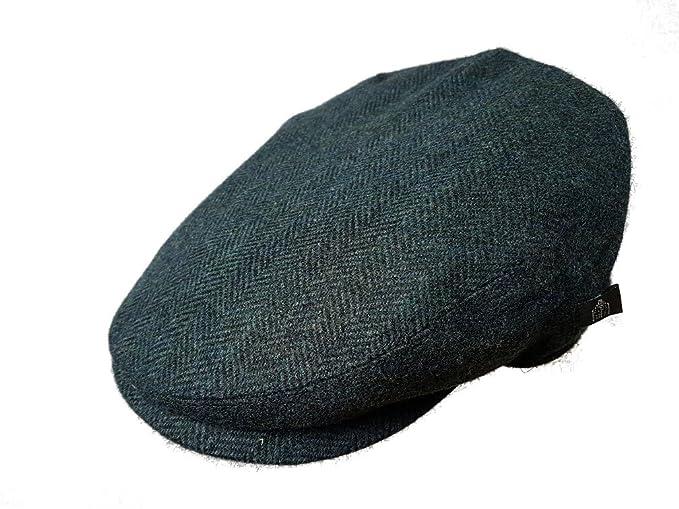 53f975d474c Irish Tweed Flat Cap Black Blue Herringbone - XL at Amazon Men s ...