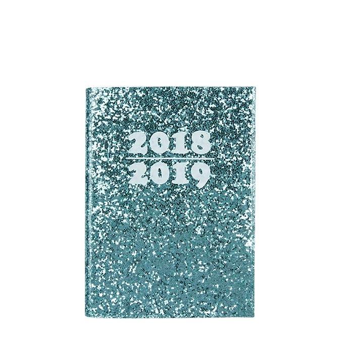 Agenda 2018/2019 A6 con purpurina verde semana en dos ...