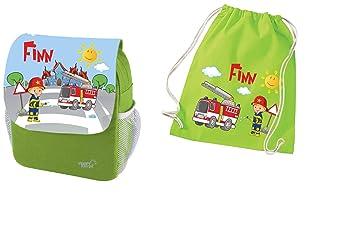 6ca1fcd935857c Mein Zwergenland Set 2 Kindergartenrucksack und Turnbeutel aus Baumwolle  Happy Knirps Next Print mit Name Feuerwehr