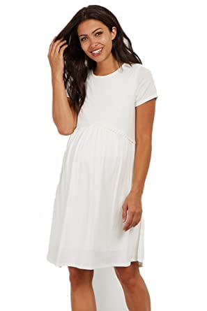 789f9d8c40 PinkBlush Maternity Solid Crochet Trim Shift Dress at Amazon Women s  Clothing store
