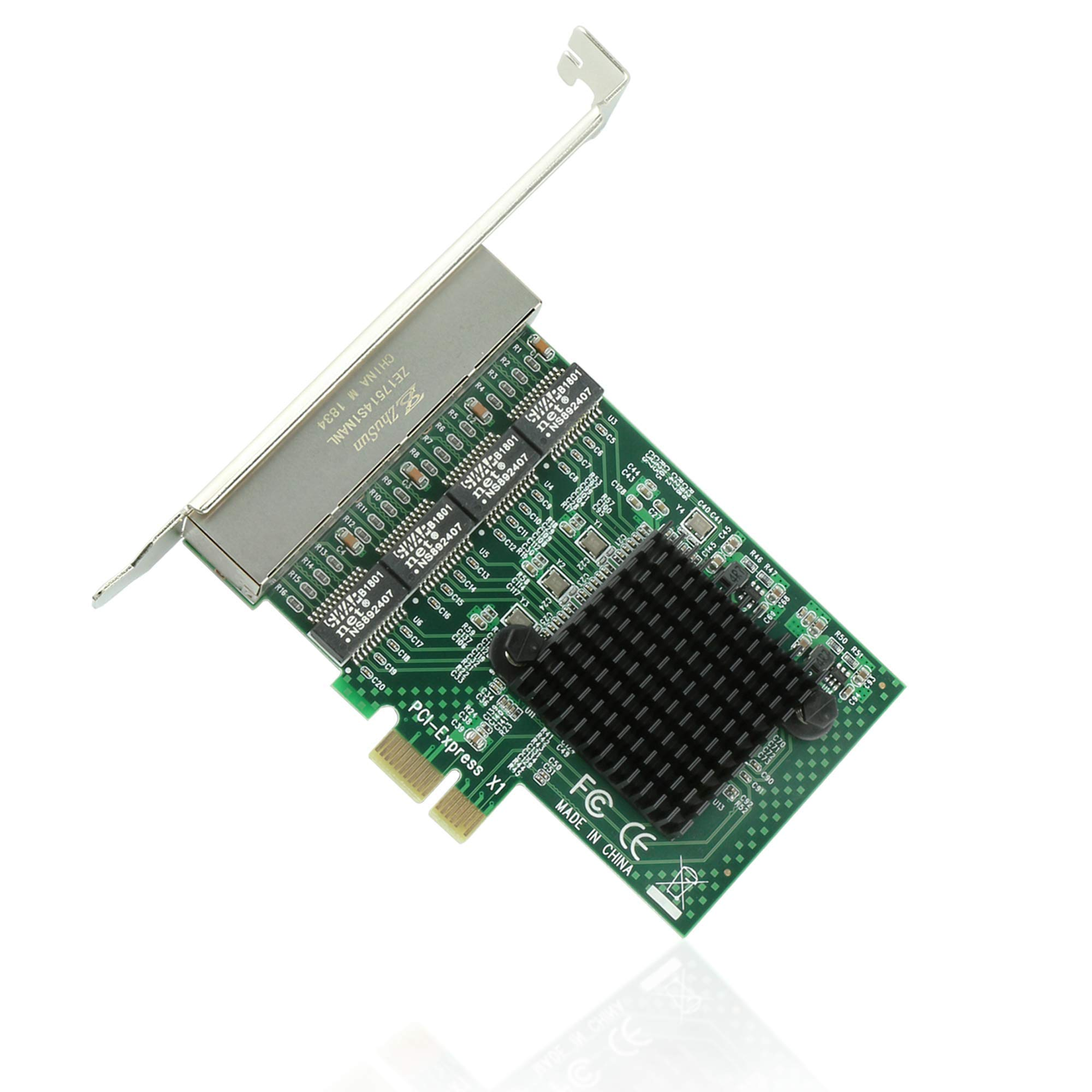Ziyituod Network Card, RJ45 4 Port Gigabit Ethernet Card, PCI Express Network Interface Card, 10/100/1000Mbps, 4 Port with Realtek RTL8111 Chipset, Support Windows XP/7/8/10,Linux,NAS(No Software) by Ziyituod