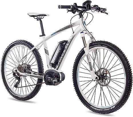 Chrisson E-Mounter 3.0 Bicicleta eléctrica, cuadro de 27,5 pulgadas, tamaño S, bicicleta de montaña; con 10G Deore XT, Bosch Pline CX, Powerpack500 y Rockshox, color blanco y gris mate, tamaño 52 cm,