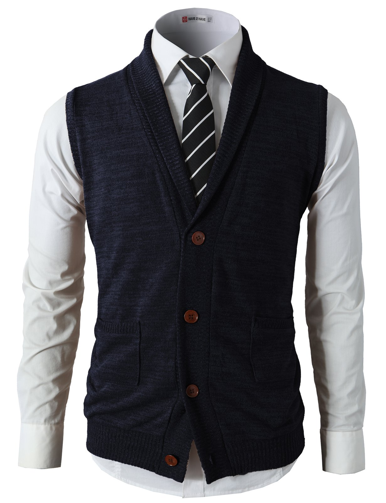 H2H Mens Casual Basic Shawl Collar Fine Knitted Slim Fit Vest Navy US L/Asia XL (CMOV034) by H2H (Image #2)