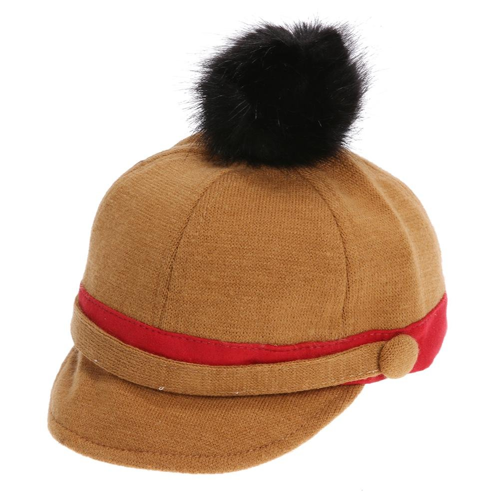 Amazon.com  chinatera Newborn Baby Winter Warm Hat Double Button Cap Woolen  Ball  Clothing bcd1491d0ed