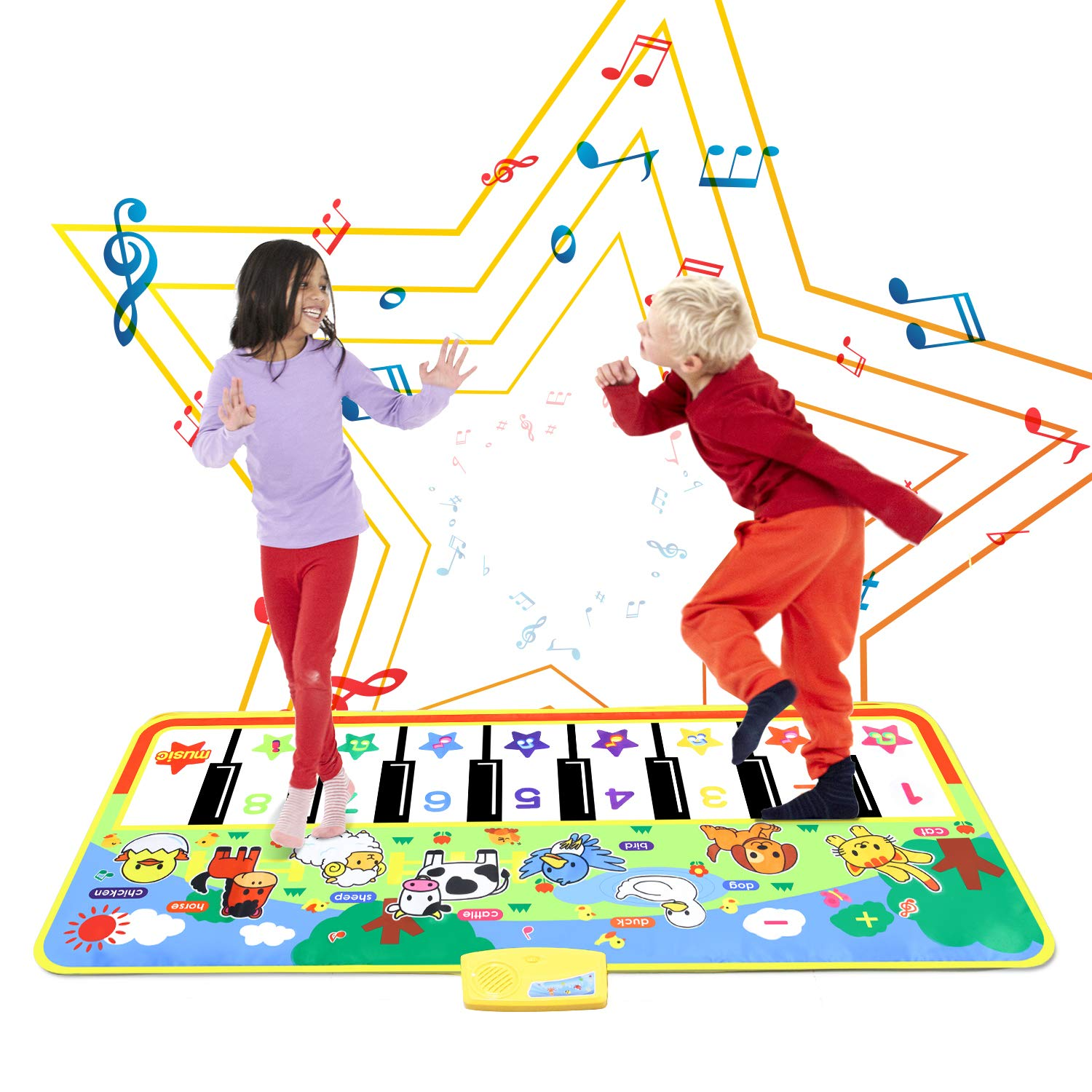 Musical Piano Mat, Keyboard Dancing Play Mat with 8 Kinds of Animal Sounds, Early Educational Learning Toy for Toddlers Kids Children (Large 52.0 x 23.6 inches)