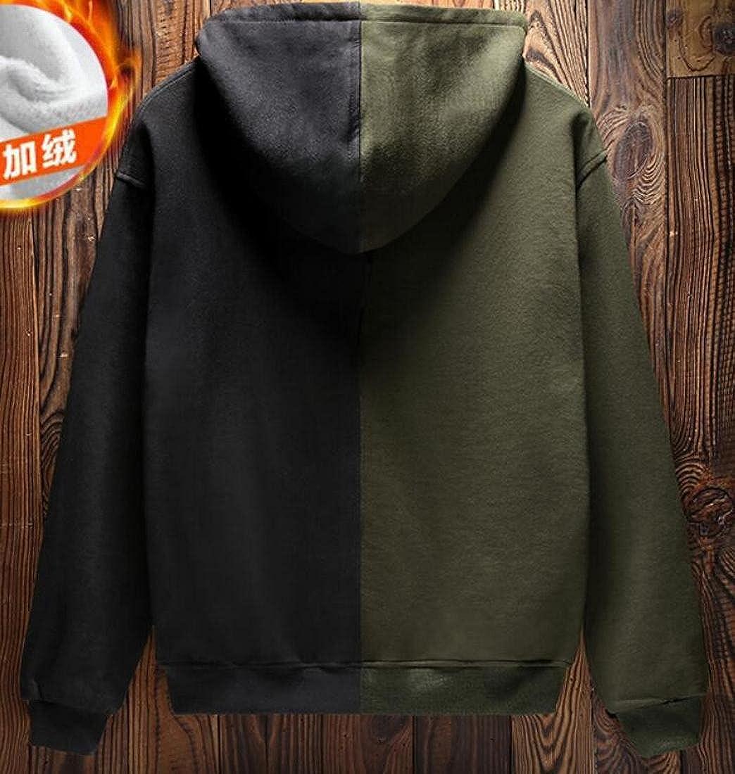 Tymhgt Mens Winter Hoodies Contrast Color Long Sleeve Pullover Sweatshirt