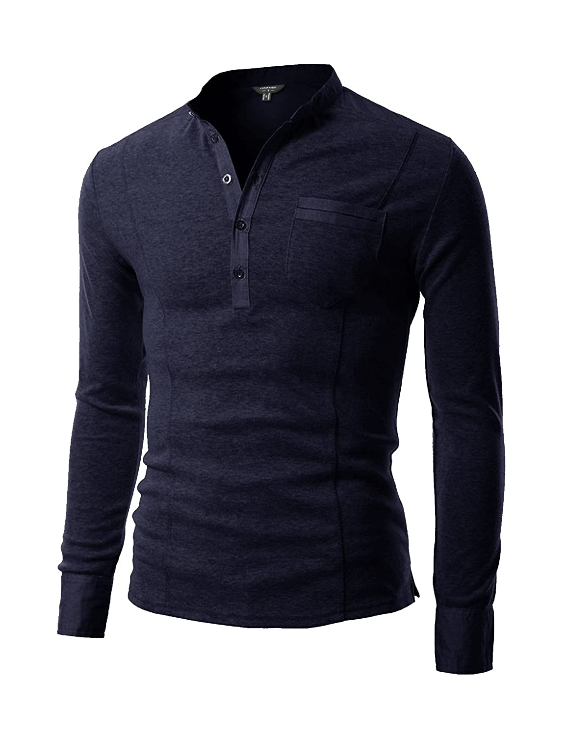 COOFANDY Men's Basic Long Sleeve Henley Shirt Casual Slim Fit T Shirt