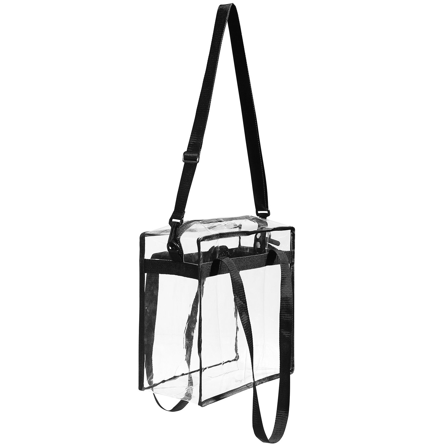 "Clear Bags NFL & PGA Stadium Approved - The Clear Tote Bag with Zipper Closure is Perfect for Work, Sports Games.Cross-Body Messenger Shoulder Bag w Adjustable Strap -12"" X 12"" X 6"" (Two Bag) by BAGAIL (Image #7)"