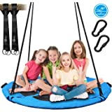 Trekassy 700lb 45 Inch Saucer Tree Swing for Kids Adults Textilene Age-Resistant with 2pcs 10ft Tree Hanging Straps…