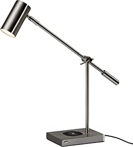 Adesso 4217-22 ColletteLED Desk Lamp WirelessCharging, 7W LED, 5W QI,USB Port, Indoor Lighting Lamps