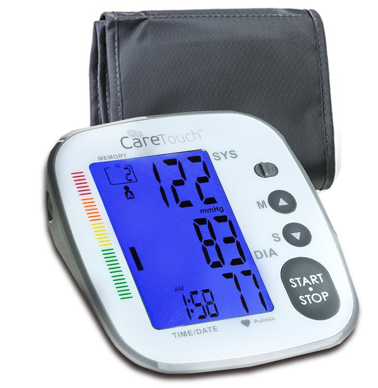 Care Touch Fully Automatic Platinum Digital Blood Pressure Monitor Platinum Arm