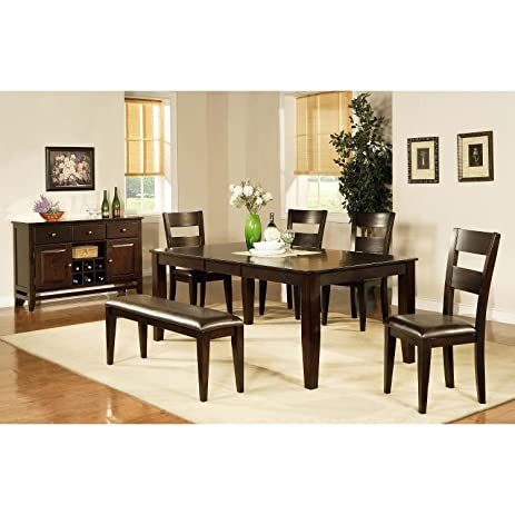 Dining Room Set 6 Piece Weston Collection Made Of Solid Mango Wood Includes  Table,