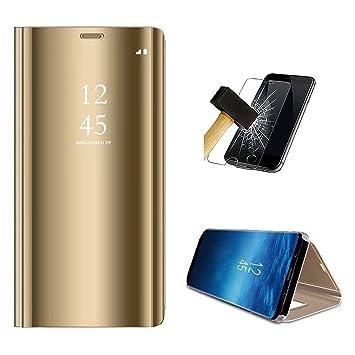 PANXIYUE Funda Xiaomi Redmi Note 7 / Note 7 Pro,Carcasa Espejo Mirror Flip Soporte Fund para Xiaomi Redmi Note 7 / Note 7 Pro(Oro)