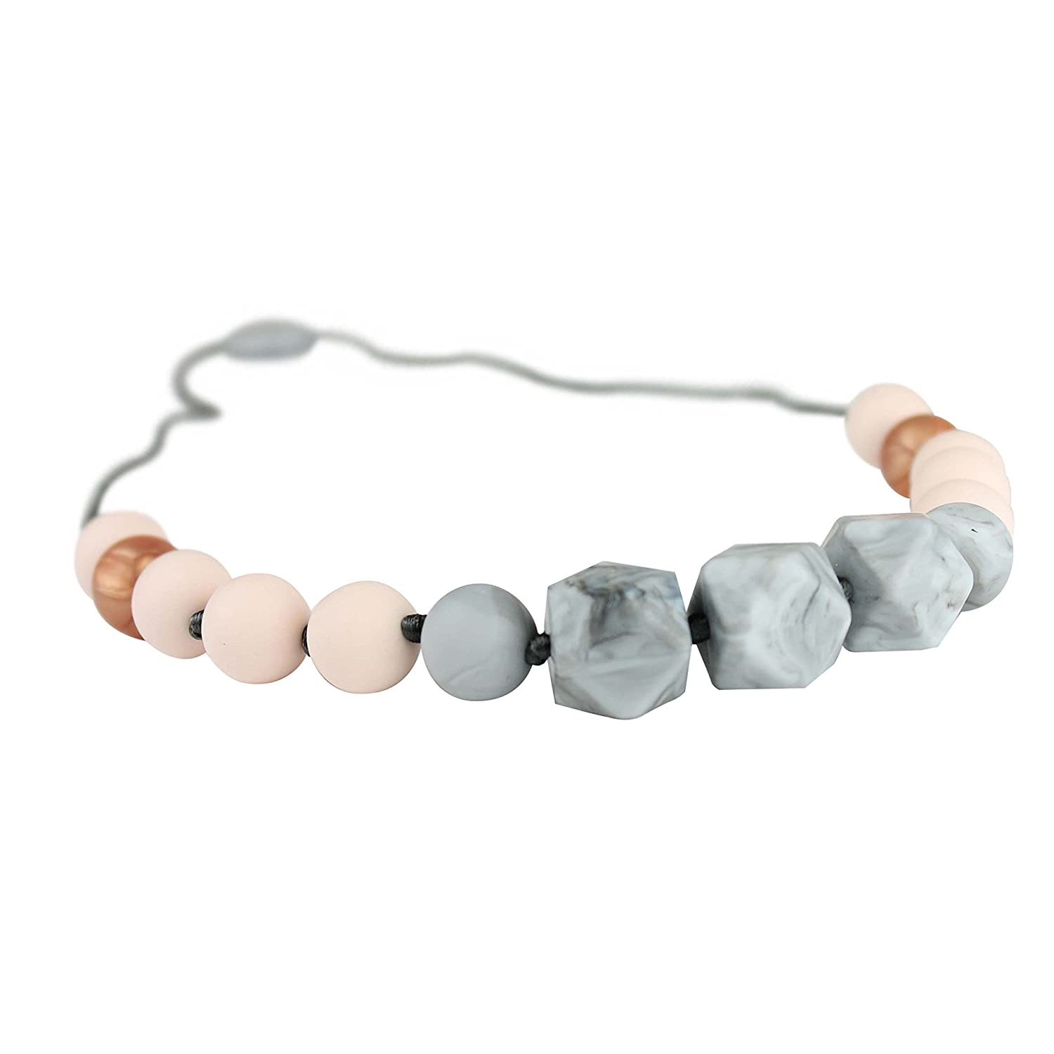 Itzy Ritzy Teething Happens Silicone Petite Strand Bead Necklace Hint of Blush