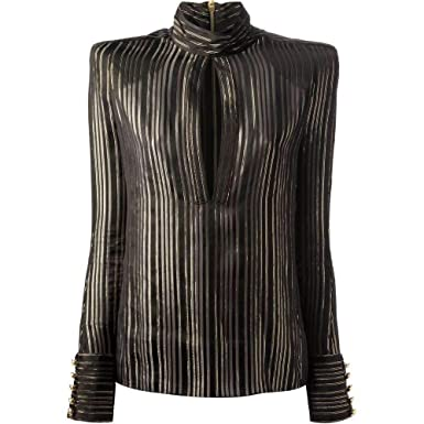 3b9368aee2 Image Unavailable. Image not available for. Color  Balmain Long Sleeve Black    Gold Tone Striped Silk Shirt
