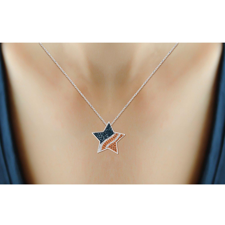 Jewelexcess 1//4 CTW Multi Color Diamond Sterling Silver American Flag Star Pendant