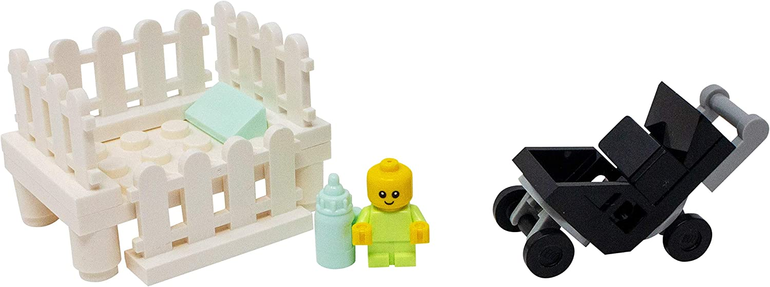 LEGO Baby with Crib, Stroller, and Bottle - Custom Infant Child Minifigure Set