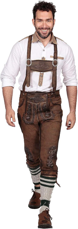 Knee Long Trachten Bundhosen Dark Brown, Authentic German Mens Lederhosen Long Oktoberfest Costume: Clothing