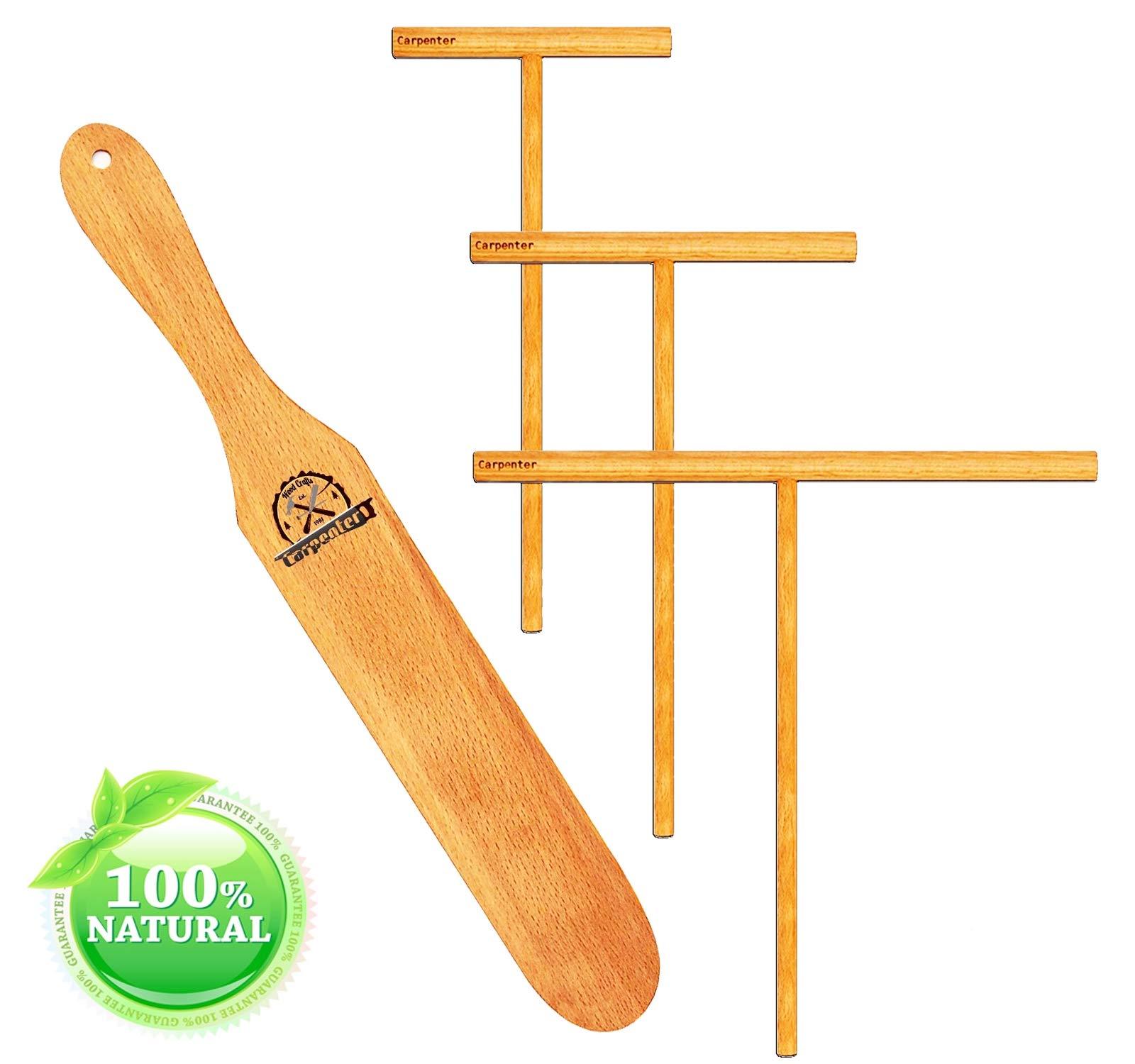 Crepe Spreaders - Spatula & Spreaders 3 Set - Handmade Natural Beechwood - 12'' Crepe Spatula [3.5'' 5'' 7'' Spreaders Kit] Spreader Wood Spatula Turner Crepe Breakfast Maker Bamboo Crepe Spreader Pack 4