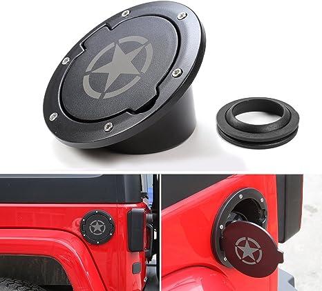 black Jeep Wrangler Fuel Gas Tank Cap Cover Aluminum Gas Cap Fuel Filler Door Cover for Jeep Wrangler 2007-2017 JK /& Unlimited