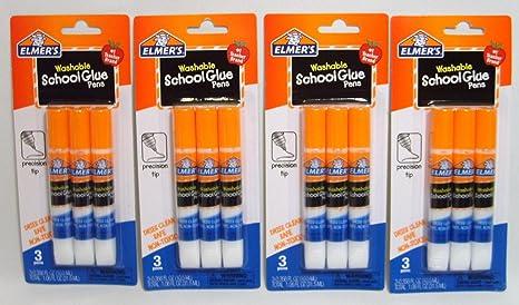 Amazon.com: Elmer s Escuela bolígrafos de pegamento lavable ...