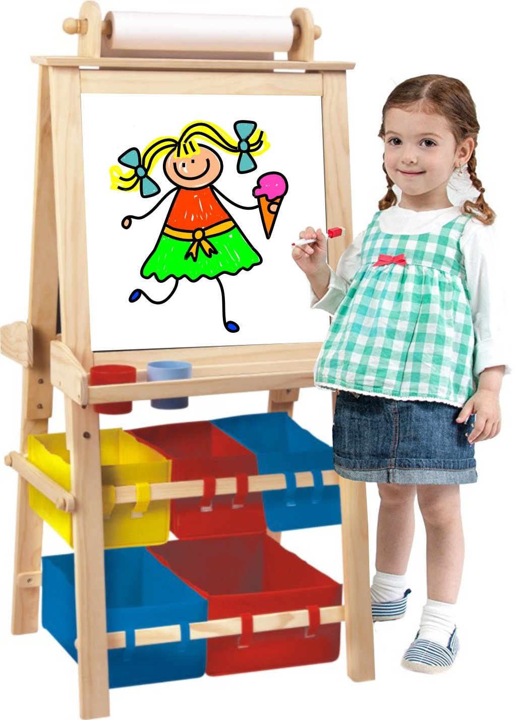 Kids Destiny Deluxe Standing Easel Chalk Board and Magnetic Dry Erase