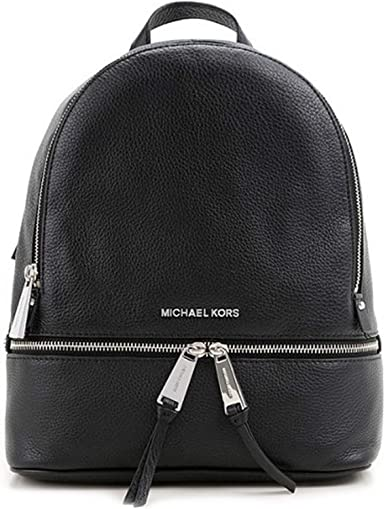 MOCHILA RHEA ZIP MEDIUM BACK PACK NEGRA MICHAEL KORS: Amazon.es ...