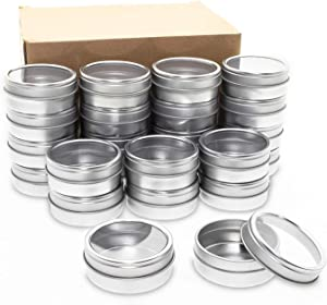 Mimi Pack 24 Pack Tins 2 oz Shallow Round Tins with Clear Window Lids Empty Tin Containers Cosmetics Tins Party Favors Tins and Food Storage Containers (Silver)