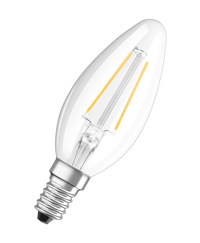 in Kerzenform mit E14-Sockel nicht dimmbar Filamentstil Klar 2700 Kelvin Ersetzt 40 Watt 1er-Pack Osram LED Star Classic B Lampe Warmwei/ß