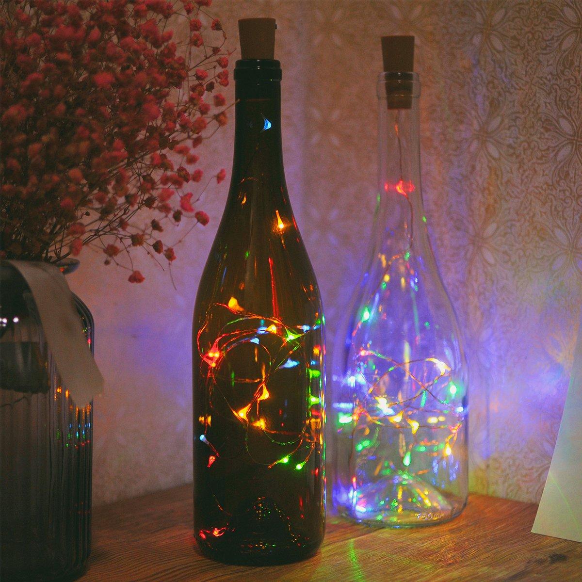 Parties Dekoration Batteriebetrieben Warmwei/ß Draht Flaschenleuchten f/ür Schlafzimmer Weinflaschen Lichterketten 2m // 7.2ft Sunniu 6 Packs Kork Kupfer Sternenklare Lichterketten