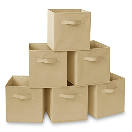 9ae0e13b893c Casafield Set of 6 Collapsible Fabric Cube Storage Bins, Sand - 11