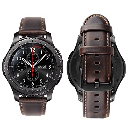 MroTech Compatible with Samsung Gear s3 Frontier Bands 22mm Quick Release Genuine Leather S3 Watch Bands Replacement Strap for Samsung Gear S3 ...