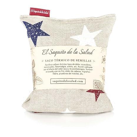 Saco Térmico de Semillas aroma Lavanda, Azahar o Romero tejido Gris con Estrellas (Azahar