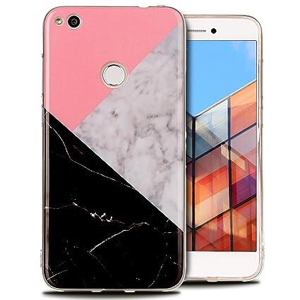 Funda Huawei P8 Lite 2017, E-Lush Mármol Suave Silicona TPU Carcasa Ultra Delgado Flexible Gel Parachoques Goma Mate Opaco Case Cover Colorido Diseño ...