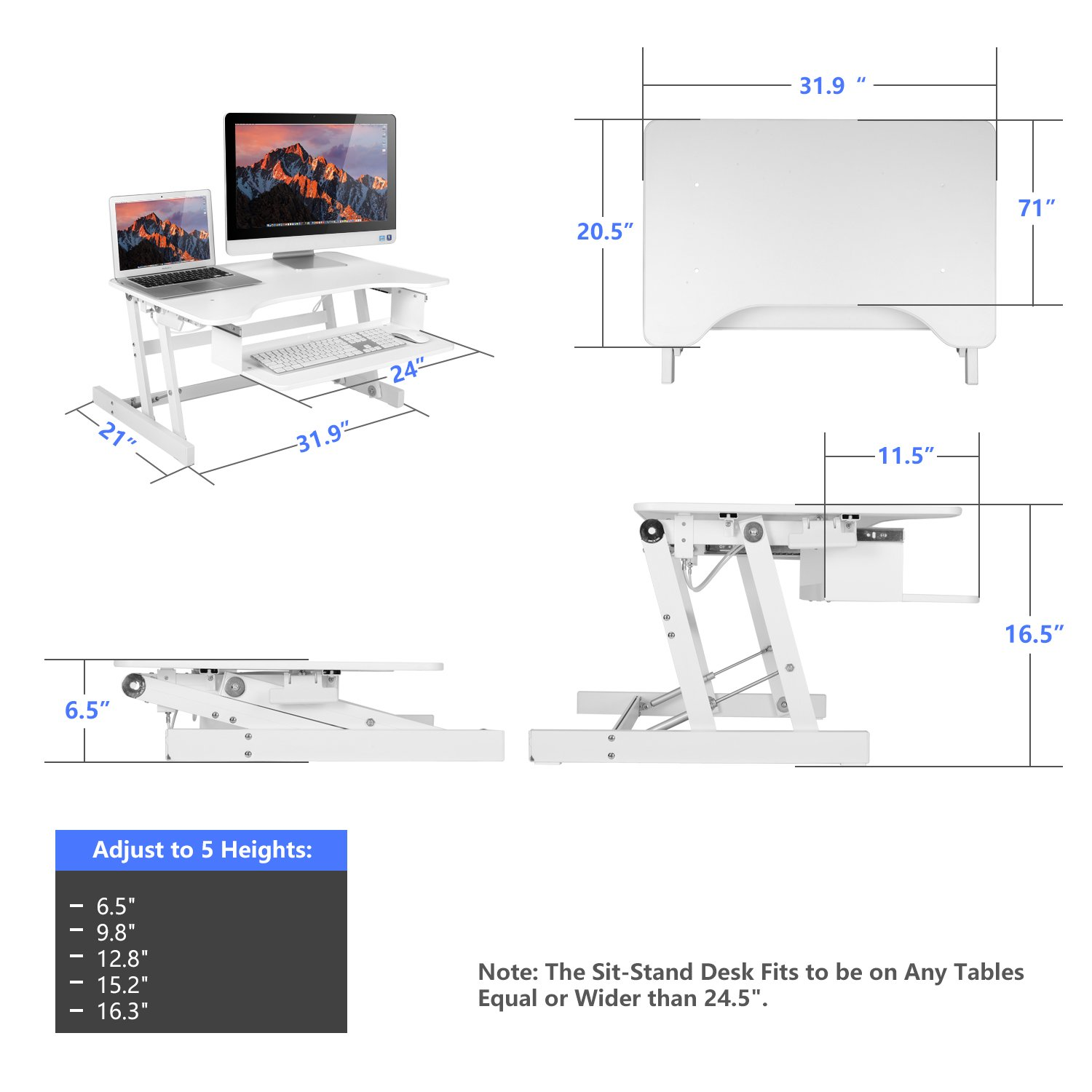 Smonet Standing Desk Converter Height Adjustable Sit Schematic Stand Riser 32 Computer Workstation Up Desktop With Retractable Keyboard