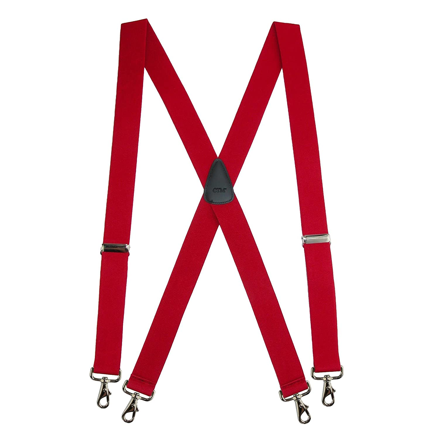 CTM Mens Big /& Tall Elastic Solid Color X-Back Suspender with Swivel Hook Ends Navy SF-4SX54-NAV