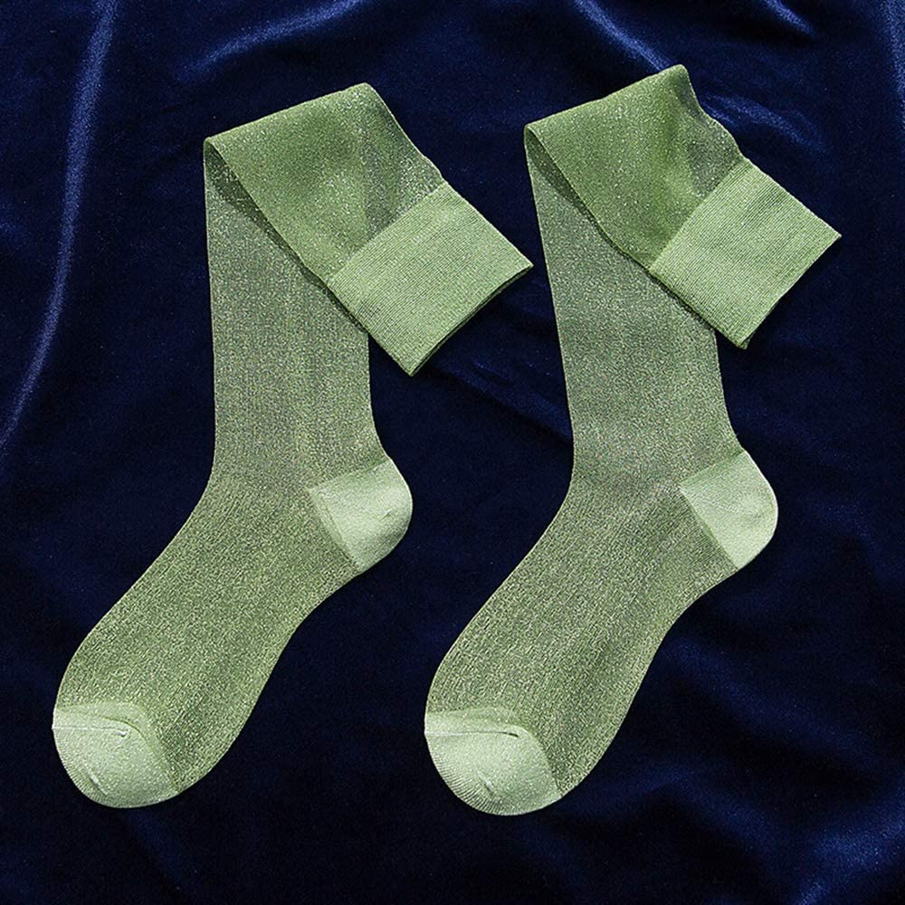 Womens Girls Sheer Shimmery Shinny Bling See Through Transparent Mesh Costume Novelty Knee High Socks,Green: Clothing