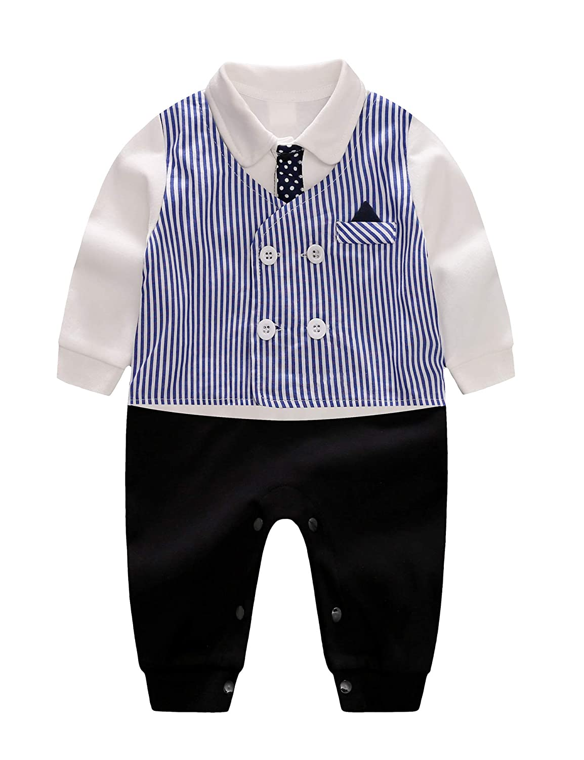 D.B.PRINCE Baby Boys Long Sleeves Gentleman Cotton Rompers Small Suit Bodysuit Outfit with Bow Tie