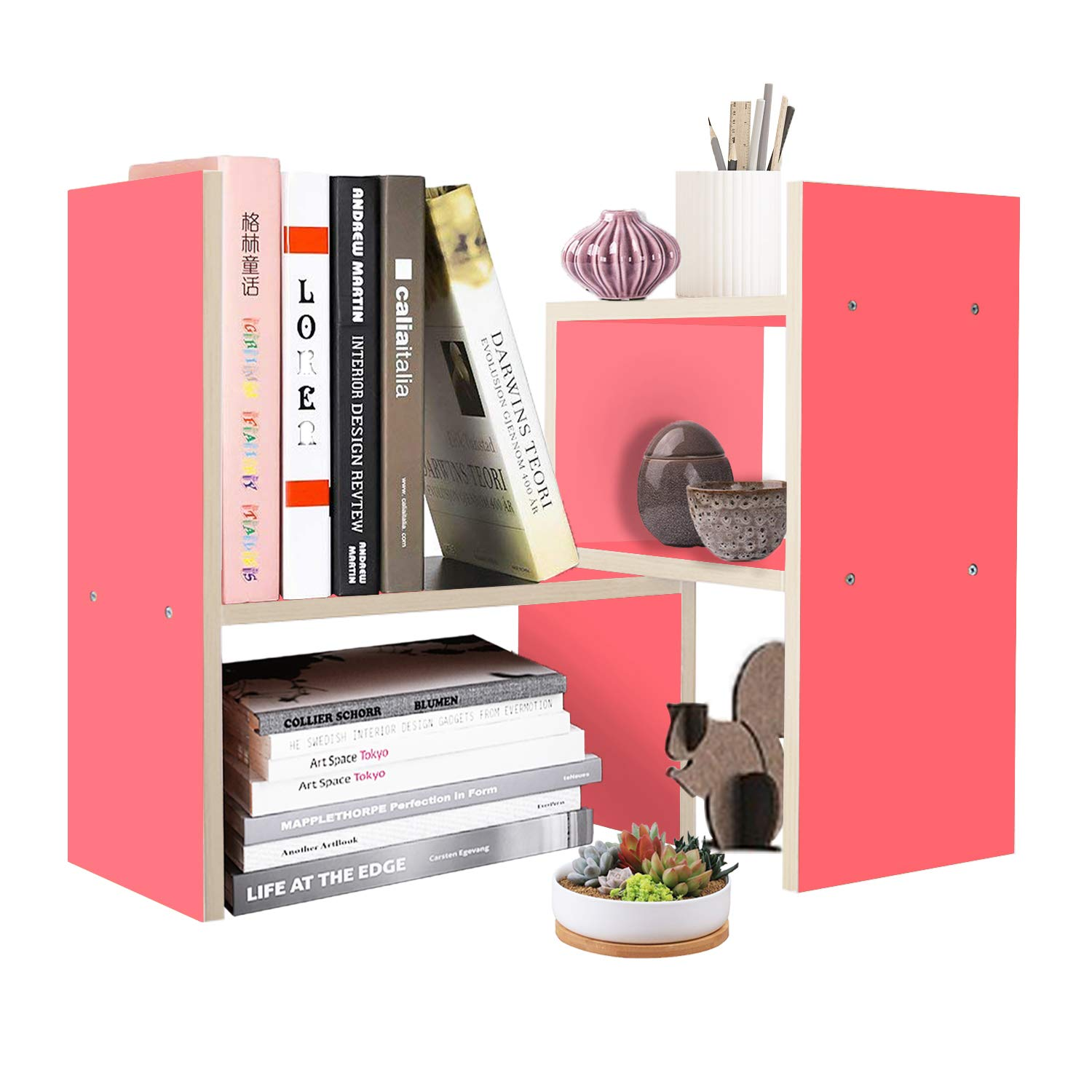 DL furniture Expandable Wood Desktop Storage Organizer Multipurpose Desk Bookshelf Display Shelf Rack Counter Top Bookcase for Office Home | Pink