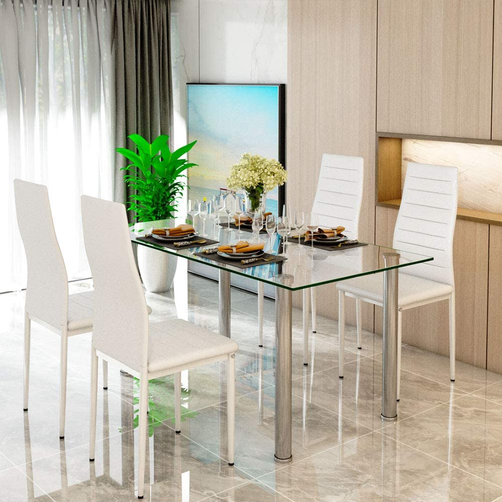 Glass Dining Table Set Tempered Glass Rectangle Kitchen Table With 4 White High Back Faux Leather Padded Dining Chairs Kitchen Table Set Dining Room Furniture Amazon Co Uk Kitchen Home
