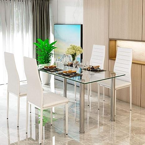 Pleasing Cream White Glass Dining Table Set And 4 Faux Leather Thick Inzonedesignstudio Interior Chair Design Inzonedesignstudiocom