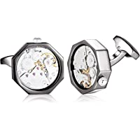 HONEY BEAR Watch Cufflinks for Mens - Octagon Working Movement Steampunk Wedding Business Gift with Box