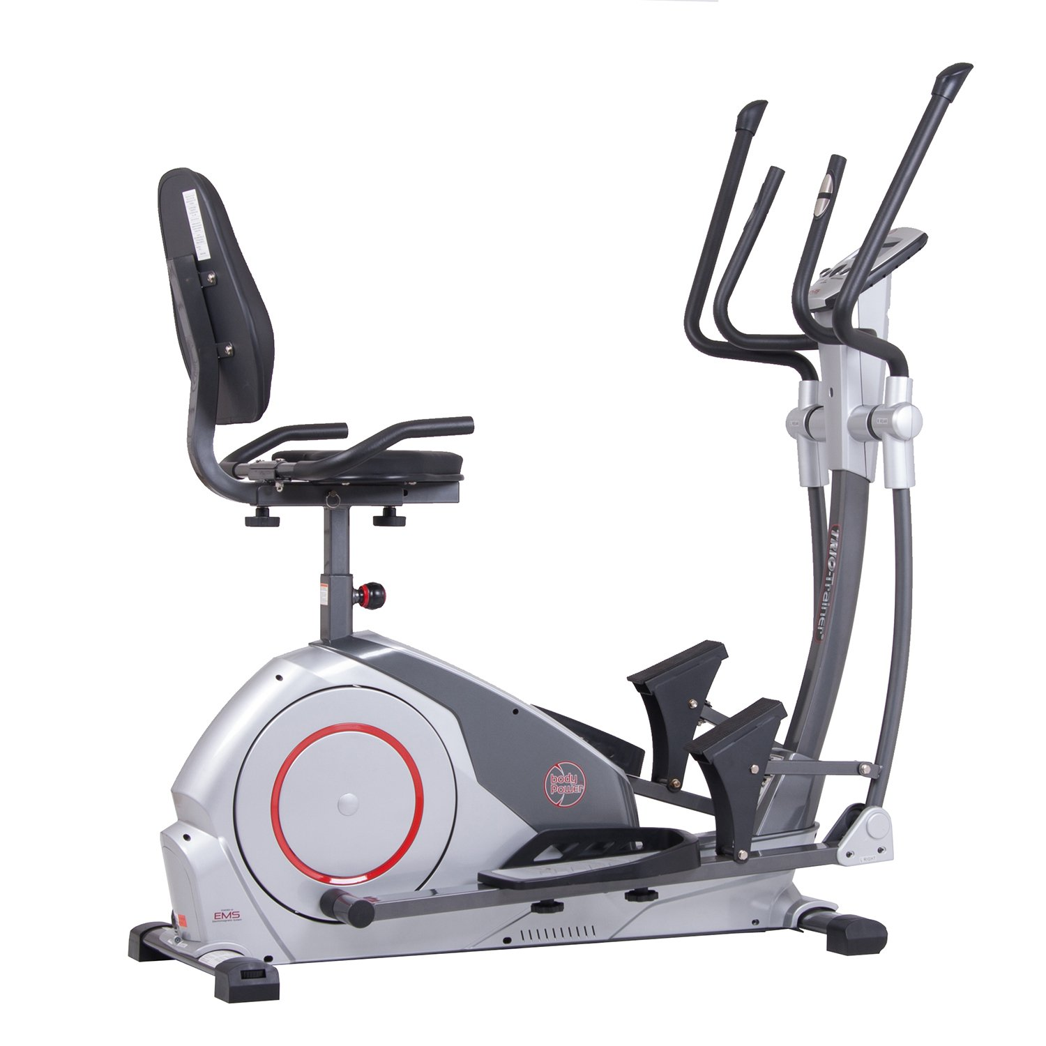 Body Power Deluxe 3-in-1 Trio Trainer Elliptical, Upright Stationary, and Recumbent Exercise Bike ALL IN ONE / with Eddy Current EMS Resistance Braking System Quality Cardio Workout Machine