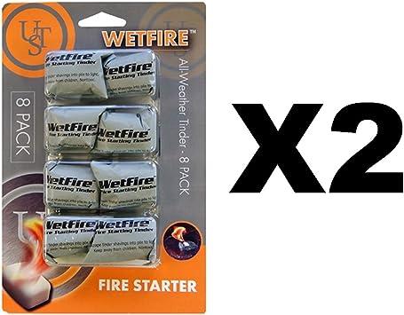Última supervivencia tecnologías wetfire all-weather Fire Starter Pack de 8: Amazon.es: Deportes y aire libre