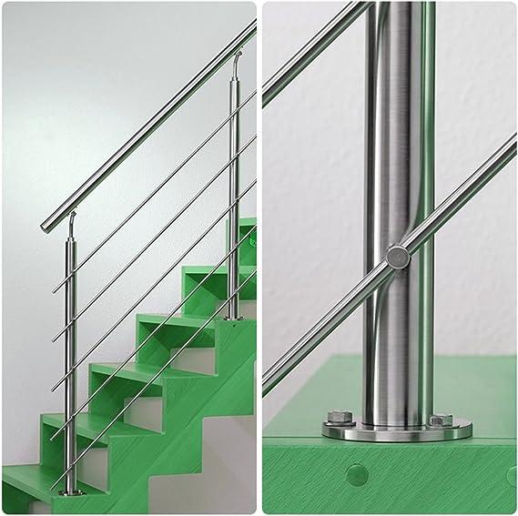 SAILUN Main courante escalier,160cm Garde-corps en acier inoxydable avec 2 poteaux traverses,pour escaliers,balustrade,balcon