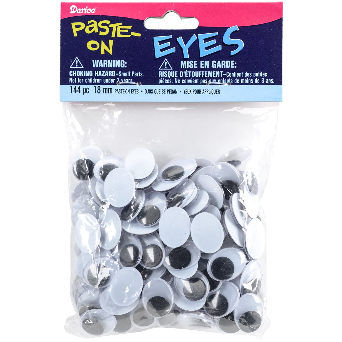Movable Oval Wiggle Eyes 18mm Black (8 Pack)