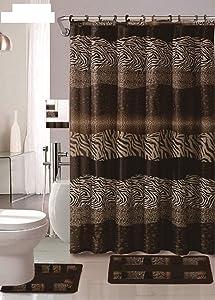 AF 18 Piece Bath Rug Set Leopard Brown Bathroom Rugs Zebra Shower Curtain Mat/Rings Towel Set- Animal Coffee
