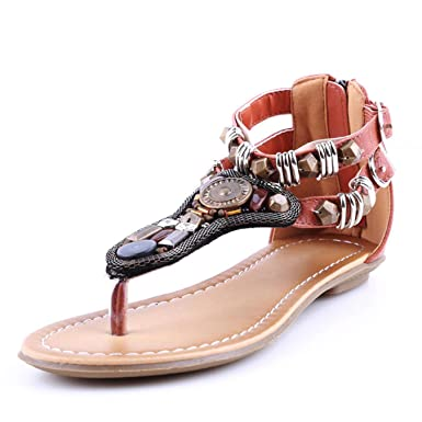 bb2fa5b70ddb0 Image Unavailable. Image not available for. Color: Summer Vintage Rome  Sandal Women Bohemian Beading ...